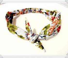 Bow Tie Headband Boho Retro Housewife Vintage Style Roses Stretch Headband Bow Tie Headscarf