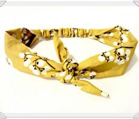 Tie Headband Mustard Vintage Bow Tie Head Scarf Printed HairScarf